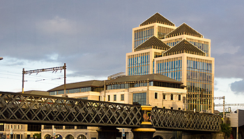 Ulster Bank at sunset